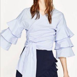Zara Blue Ruffle Wrap Top